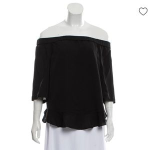 Rebecca Taylor Off the Shoulder Silk Back Tie Top
